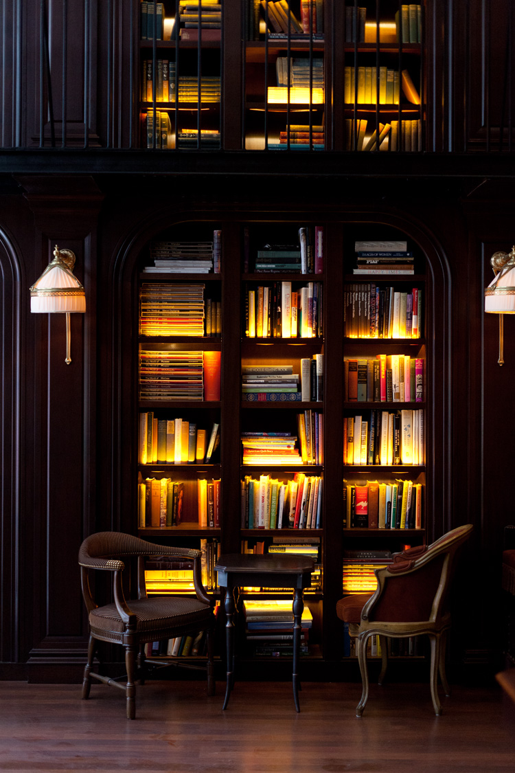 Lingered upon the library at the nomad hotel for Hotel design book